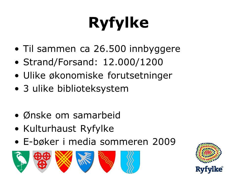 Ryfylke •Til sammen ca 26.500 innbyggere •Strand/Forsand: 12.000/1200 •Ulike økonomiske forutsetninger •3 ulike biblioteksystem •Ønske om samarbeid •K