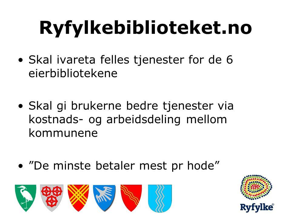 Ryfylkebiblioteket.no •Skal ivareta felles tjenester for de 6 eierbibliotekene •Skal gi brukerne bedre tjenester via kostnads- og arbeidsdeling mellom