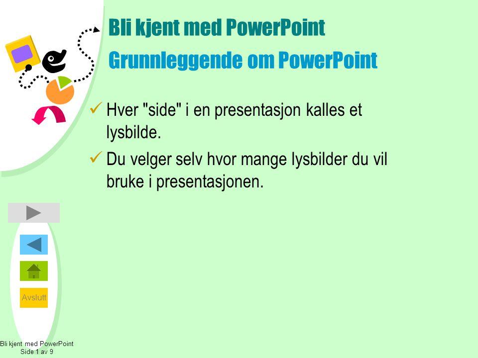 Avslutt Bli kjent med PowerPoint Hva kan du lage.