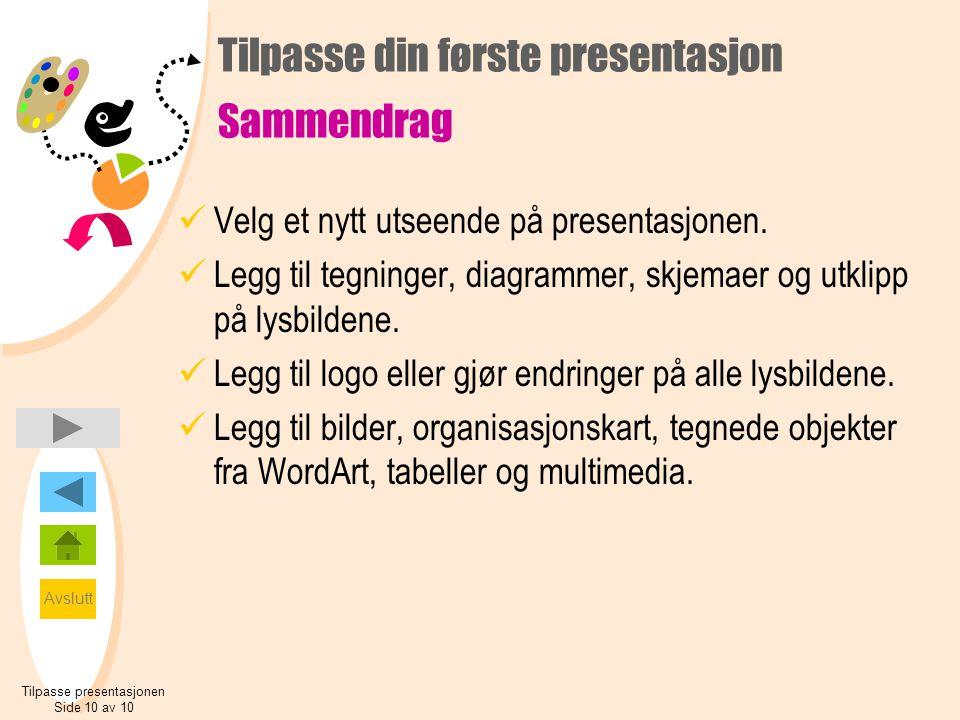 Avslutt Tilpasse din første presentasjon Sammendrag  Velg et nytt utseende på presentasjonen.