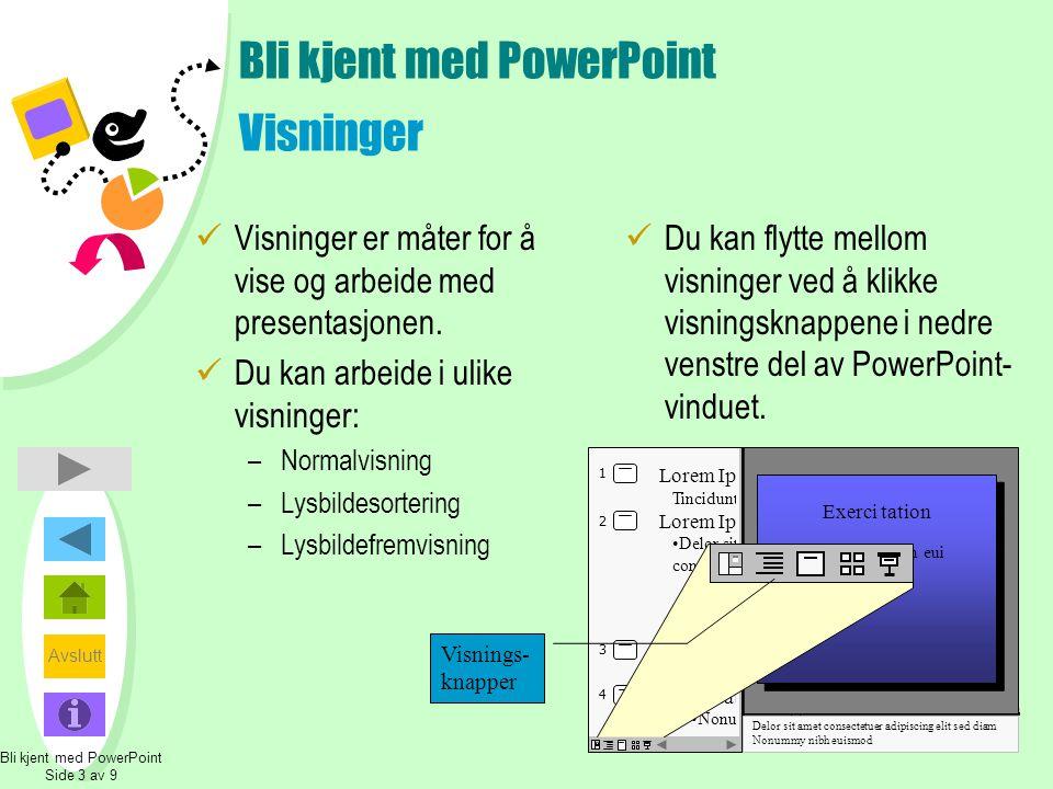 Avslutt Bli kjent med PowerPoint Visninger  Visninger er måter for å vise og arbeide med presentasjonen.