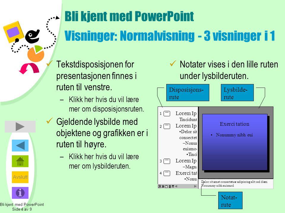 Avslutt Tilbake Bli kjent med PowerPoint Visninger: Disposisjonsruten  Disposisjonsruten viser teksten i presentasjonen uten grafikk.