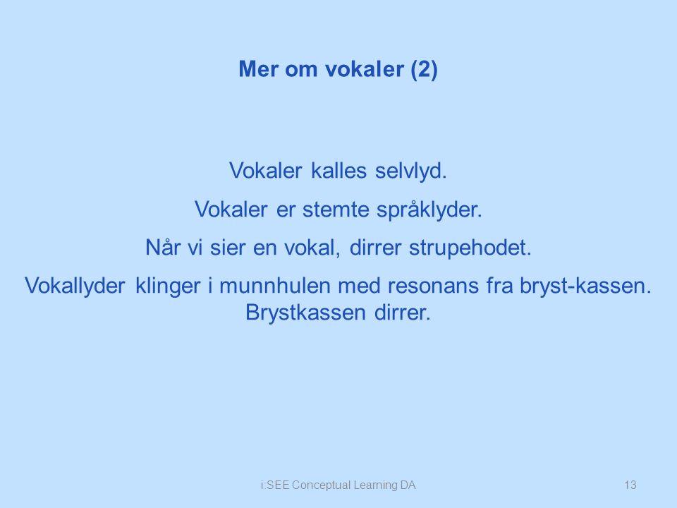 Mer om vokaler (2) 13i:SEE Conceptual Learning DA Vokaler kalles selvlyd.