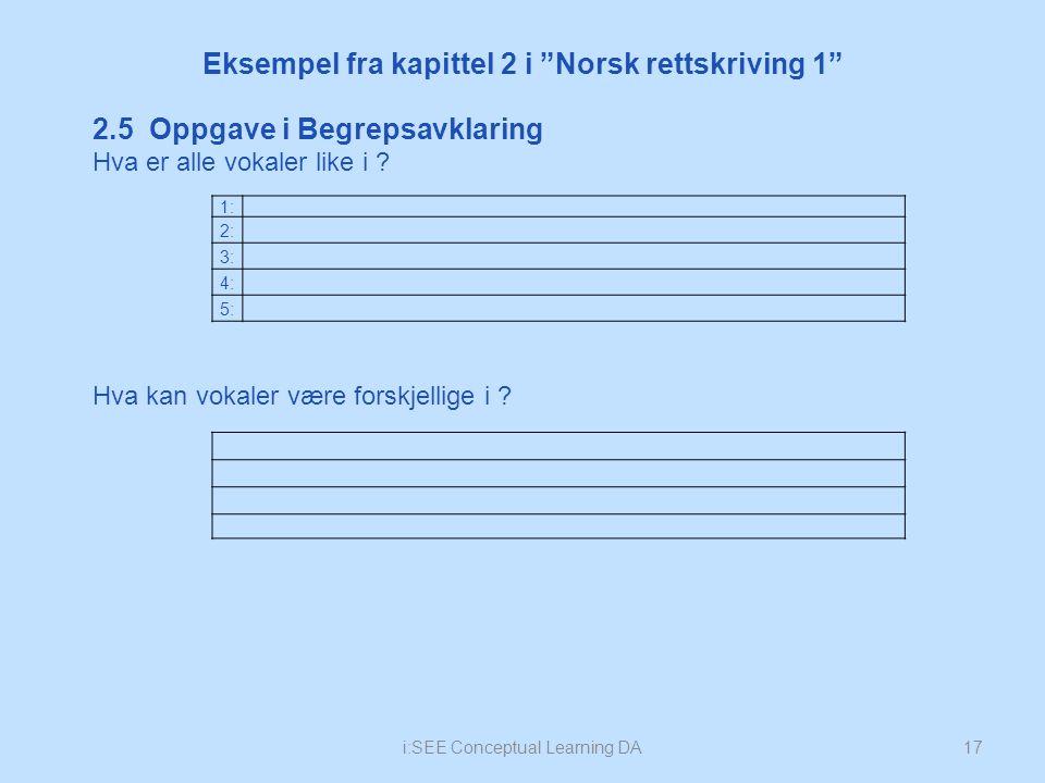 i:SEE Conceptual Learning DA17 Eksempel fra kapittel 2 i Norsk rettskriving 1 1: 2: 3: 4: 5: 2.5 Oppgave i Begrepsavklaring Hva er alle vokaler like i .
