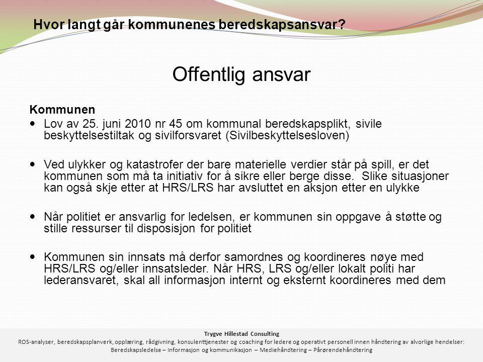 Kommunen  Lov av 25. juni 2010 nr 45 om kommunal beredskapsplikt, sivile beskyttelsestiltak og sivilforsvaret (Sivilbeskyttelsesloven)  Ved ulykker