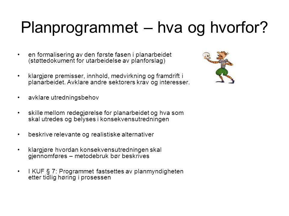 Planprogrammet – hva og hvorfor? •en formalisering av den første fasen i planarbeidet (støttedokument for utarbeidelse av planforslag) •klargjøre prem