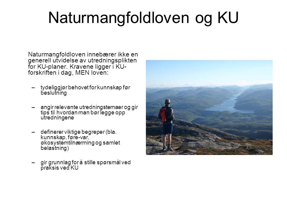 Naturmangfoldloven og KU Naturmangfoldloven innebærer ikke en generell utvidelse av utredningsplikten for KU-planer. Kravene ligger i KU- forskriften