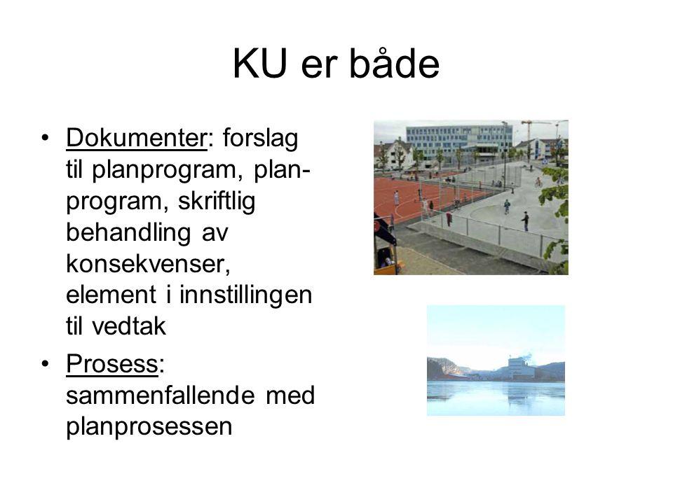 KU er både •Dokumenter: forslag til planprogram, plan- program, skriftlig behandling av konsekvenser, element i innstillingen til vedtak •Prosess: sam