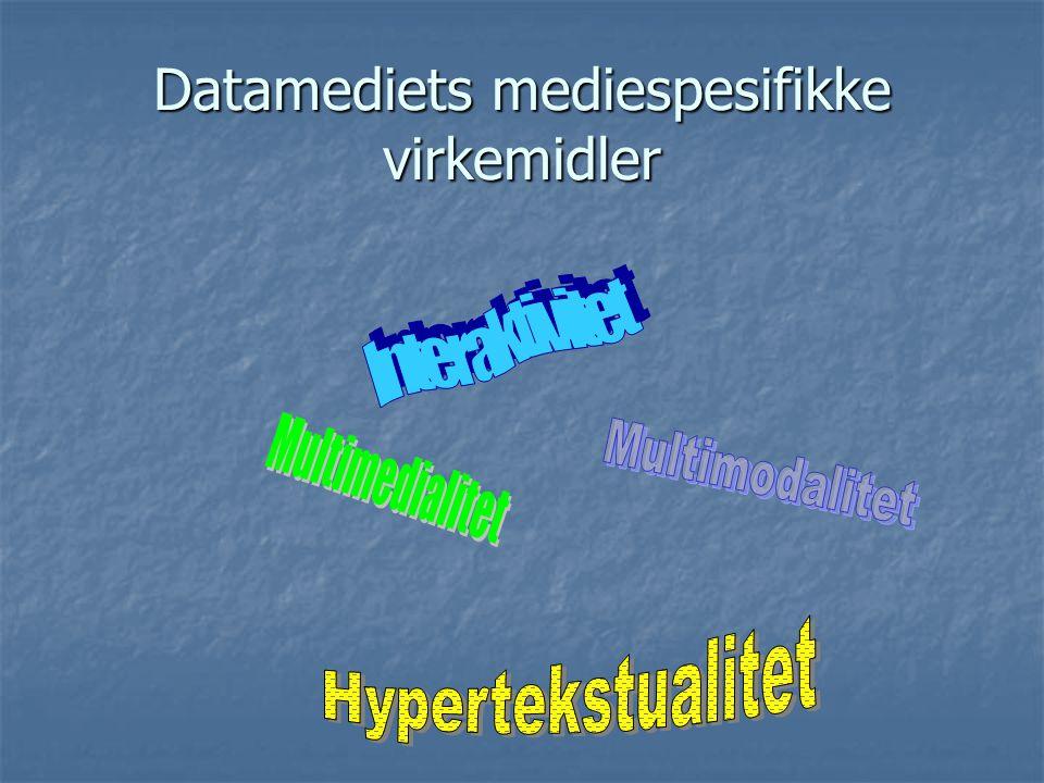 Sjangrer knyttet til datamediet ( Skjermtekstsjangrer ) (mer eller mindre mediespesifikke….)  CD-romleksikon  Nettaviser  Elektronisk brev  Nettsamtaler (chat)  Dataspill  CD-romfortelling  Hypertekstfortelling  Web-logg  ??