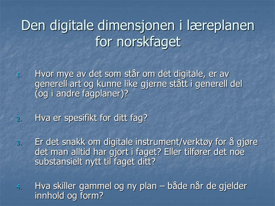 Den digitale dimensjoner i flere perspektiv Teknologisk perspektiv Pedagogisk perspektiv Fagdidaktisk perspektiv Det fag- spesifikke Læring Teknologi