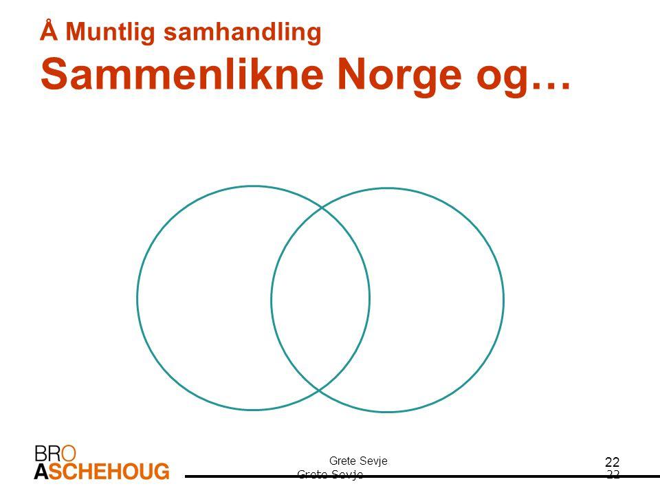 22 Å Muntlig samhandling Sammenlikne Norge og… Grete Sevje22