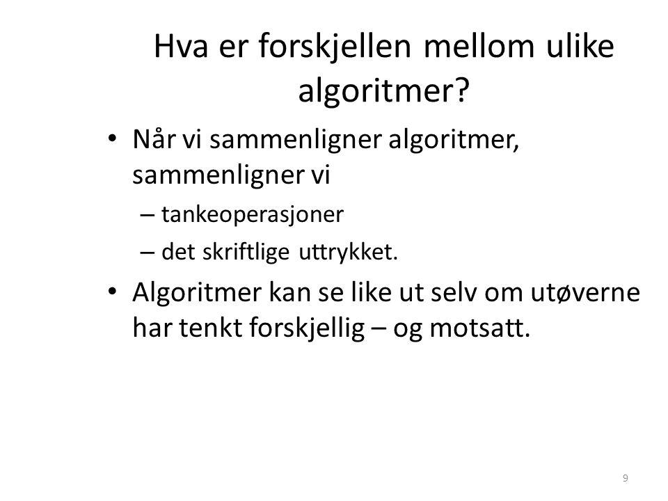 Hva er forskjellen mellom ulike algoritmer? • Når vi sammenligner algoritmer, sammenligner vi – tankeoperasjoner – det skriftlige uttrykket. • Algorit