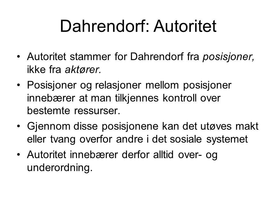 Dahrendorf: Autoritet •Autoritet stammer for Dahrendorf fra posisjoner, ikke fra aktører. •Posisjoner og relasjoner mellom posisjoner innebærer at man