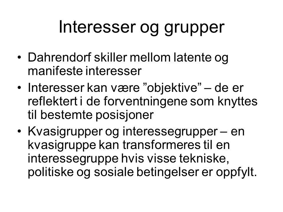 """Interesser og grupper •Dahrendorf skiller mellom latente og manifeste interesser •Interesser kan være """"objektive"""" – de er reflektert i de forventninge"""