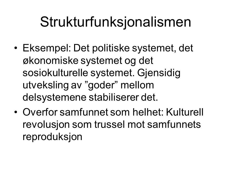 """Strukturfunksjonalismen •Eksempel: Det politiske systemet, det økonomiske systemet og det sosiokulturelle systemet. Gjensidig utveksling av """"goder"""" me"""