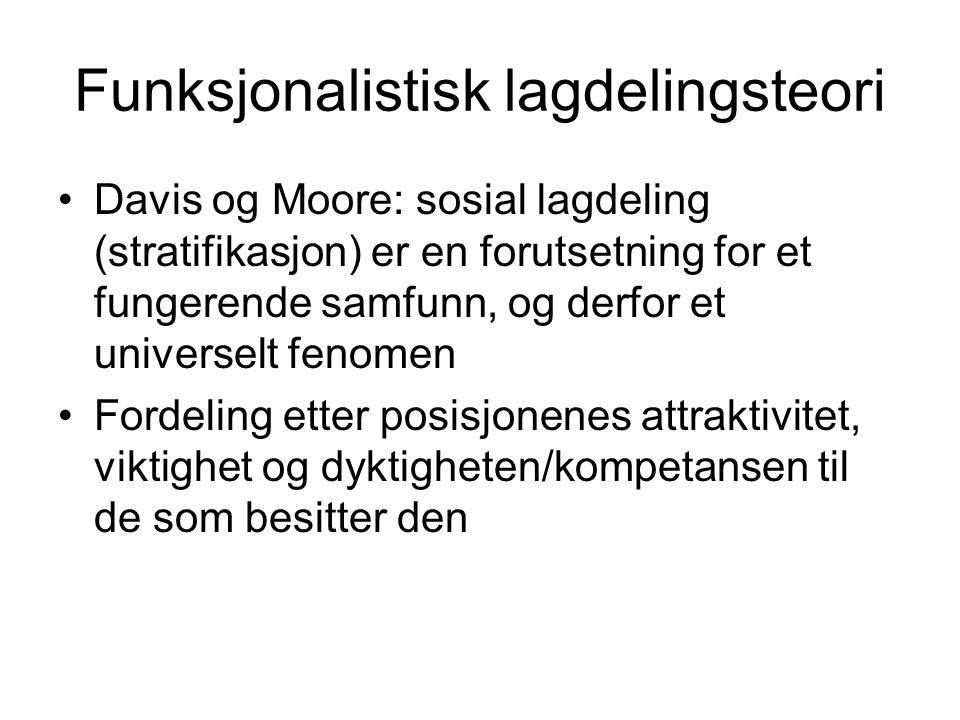 Funksjonalistisk lagdelingsteori •Davis og Moore: sosial lagdeling (stratifikasjon) er en forutsetning for et fungerende samfunn, og derfor et univers