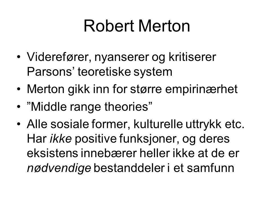 """Robert Merton •Viderefører, nyanserer og kritiserer Parsons' teoretiske system •Merton gikk inn for større empirinærhet •""""Middle range theories"""" •Alle"""