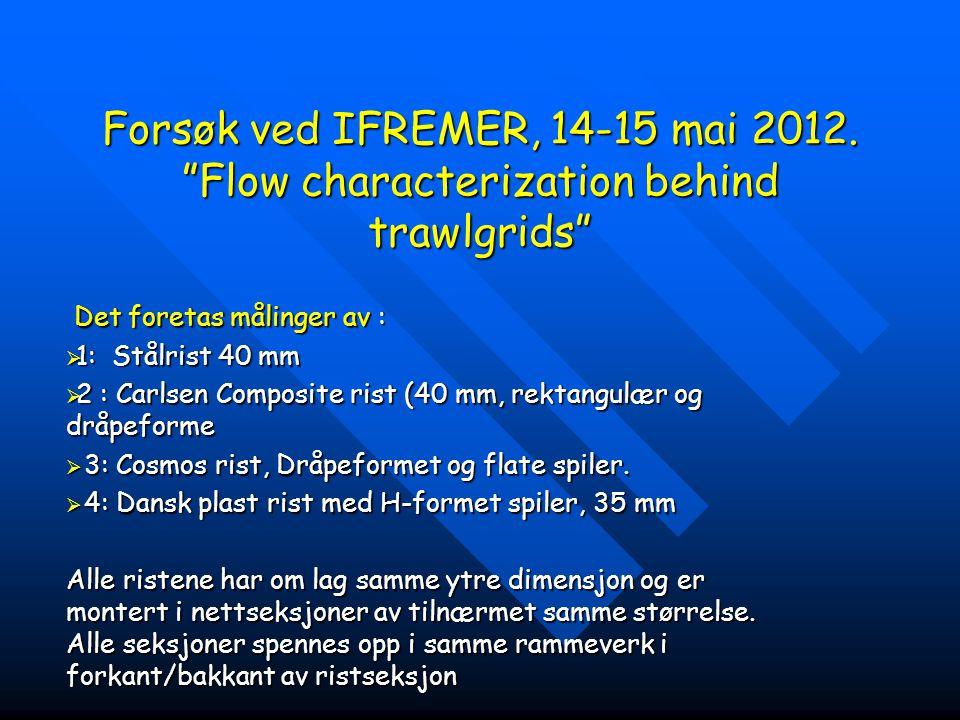 """Forsøk ved IFREMER, 14-15 mai 2012. """"Flow characterization behind trawlgrids"""" Det foretas målinger av : Det foretas målinger av :  1: Stålrist 40 mm"""
