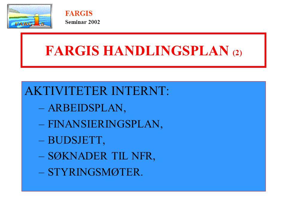 FARGIS HANDLINGSPLAN (2) AKTIVITETER INTERNT: –ARBEIDSPLAN, –FINANSIERINGSPLAN, –BUDSJETT, –SØKNADER TIL NFR, –STYRINGSMØTER.