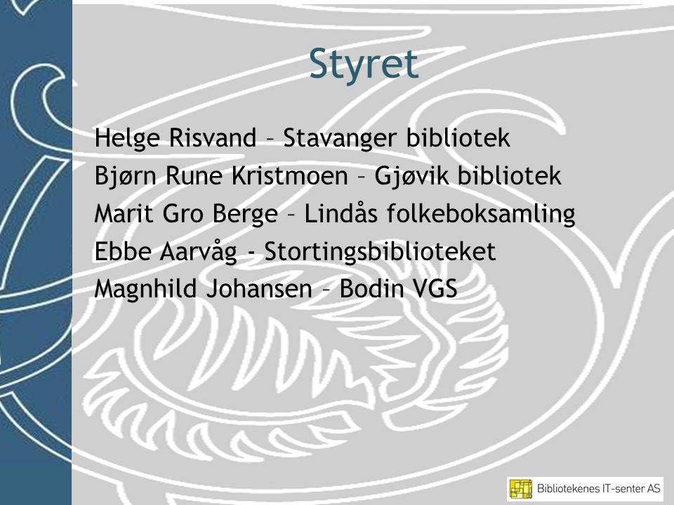 Styret Helge Risvand – Stavanger bibliotek Bjørn Rune Kristmoen – Gjøvik bibliotek Marit Gro Berge – Lindås folkeboksamling Ebbe Aarvåg - Stortingsbib