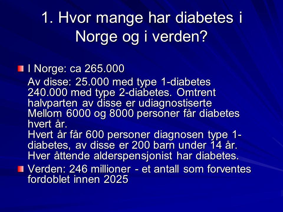 1. Hvor mange har diabetes i Norge og i verden? I Norge: ca 265.000 Av disse: 25.000 med type 1-diabetes 240.000 med type 2-diabetes. Omtrent halvpart