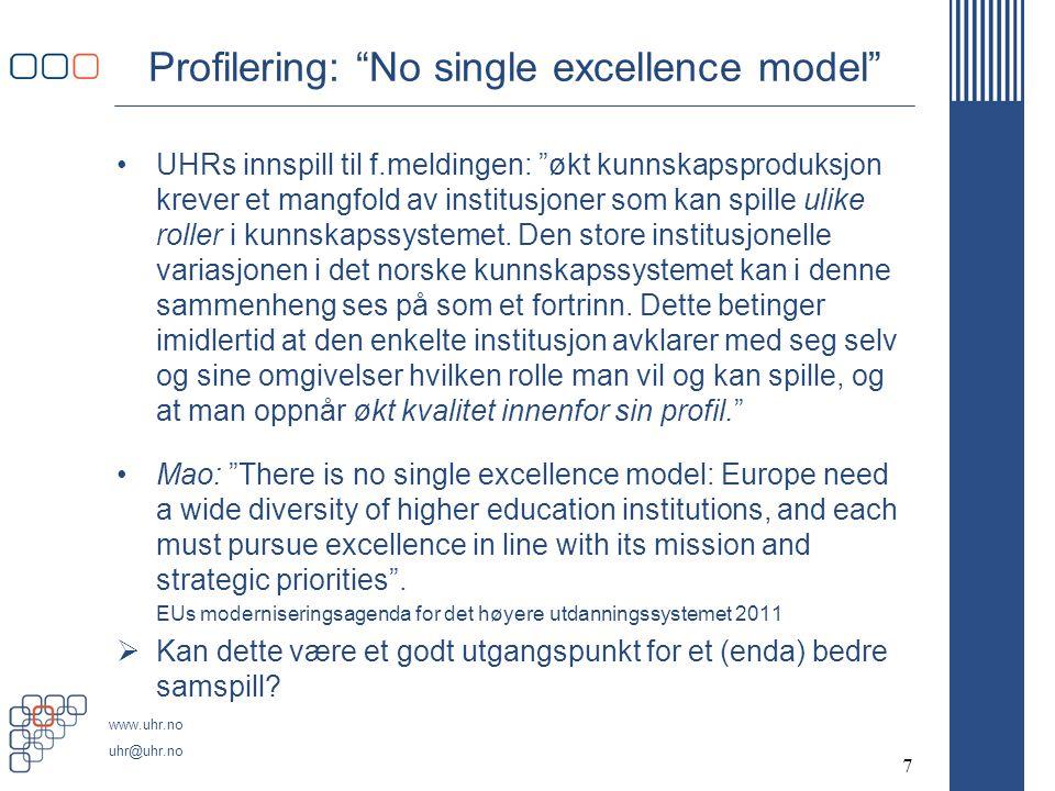 www.uhr.no uhr@uhr.no Profilering: No single excellence model •UHRs innspill til f.meldingen: økt kunnskapsproduksjon krever et mangfold av institusjoner som kan spille ulike roller i kunnskapssystemet.