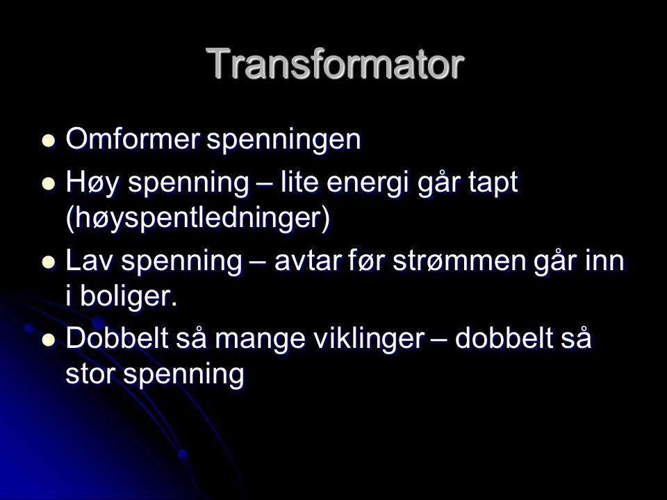 Transformator  Omformer spenningen  Høy spenning – lite energi går tapt (høyspentledninger)  Lav spenning – avtar før strømmen går inn i boliger.
