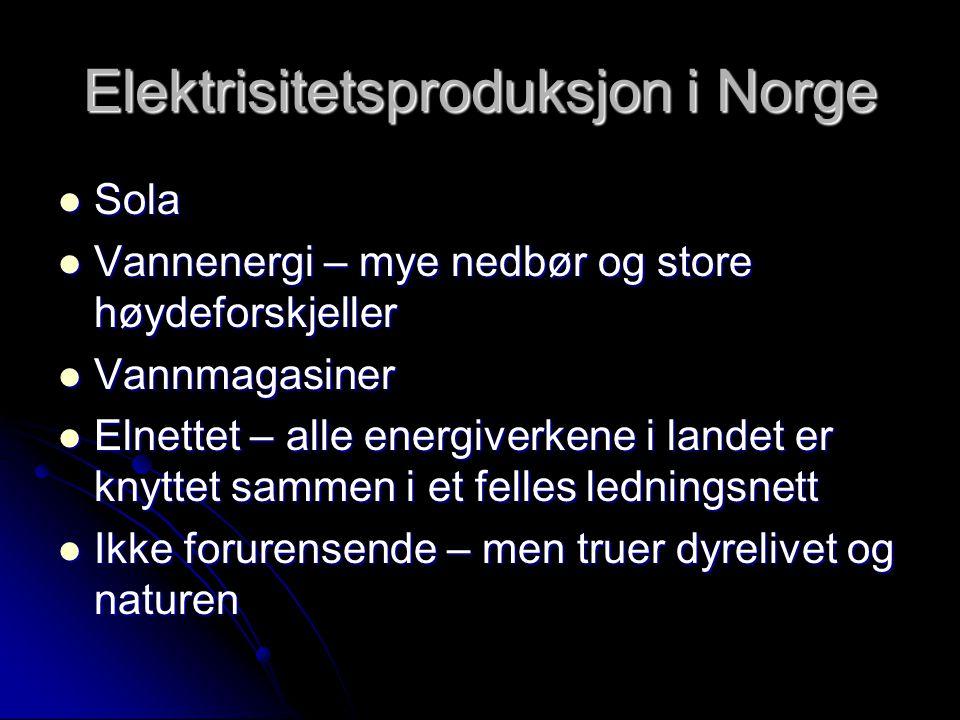 Elektrisitetsproduksjon i Norge  Sola  Vannenergi – mye nedbør og store høydeforskjeller  Vannmagasiner  Elnettet – alle energiverkene i landet er knyttet sammen i et felles ledningsnett  Ikke forurensende – men truer dyrelivet og naturen