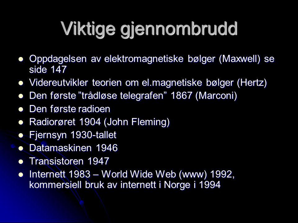 Viktige gjennombrudd  Oppdagelsen av elektromagnetiske bølger (Maxwell) se side 147  Videreutvikler teorien om el.magnetiske bølger (Hertz)  Den første trådløse telegrafen 1867 (Marconi)  Den første radioen  Radiorøret 1904 (John Fleming)  Fjernsyn 1930-tallet  Datamaskinen 1946  Transistoren 1947  Internett 1983 – World Wide Web (www) 1992, kommersiell bruk av internett i Norge i 1994