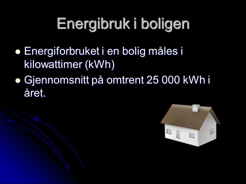 Energibruk i boligen  Energiforbruket i en bolig måles i kilowattimer (kWh)  Gjennomsnitt på omtrent 25 000 kWh i året.