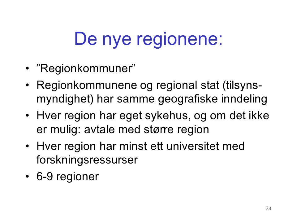 23 Regional utvikling •Oppgaver umiddelbart: –RUP, –Europeisk utviklingspolitikk –Distriktspolitikken, småkommunene –Transportinfrastrukturen –Kollekt