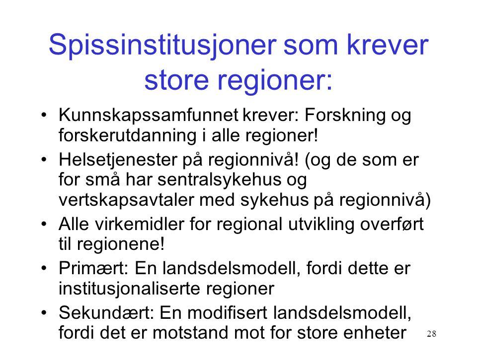 27 En norsk reform etter svensk mønster: •Regionene er tunge også i tjenesteyting, det er det som gir legitimitet: –VGS, sykehus, samferdsel, vei. •Re