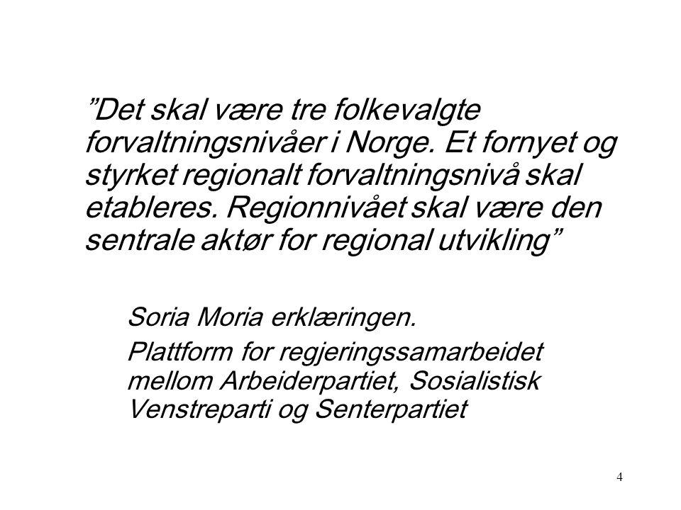 4 Det skal være tre folkevalgte forvaltningsnivåer i Norge.