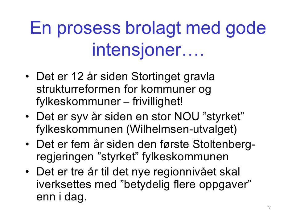 7 •Det er 12 år siden Stortinget gravla strukturreformen for kommuner og fylkeskommuner – frivillighet.