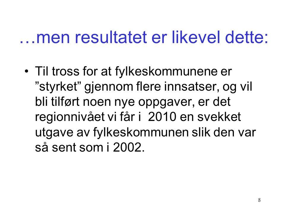 """7 •Det er 12 år siden Stortinget gravla strukturreformen for kommuner og fylkeskommuner – frivillighet! •Det er syv år siden en stor NOU """"styrket"""" fyl"""