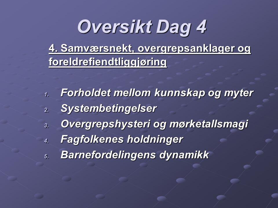 Oversikt Dag 5 5.Bruk av sakkyndige og høring av barn 1.