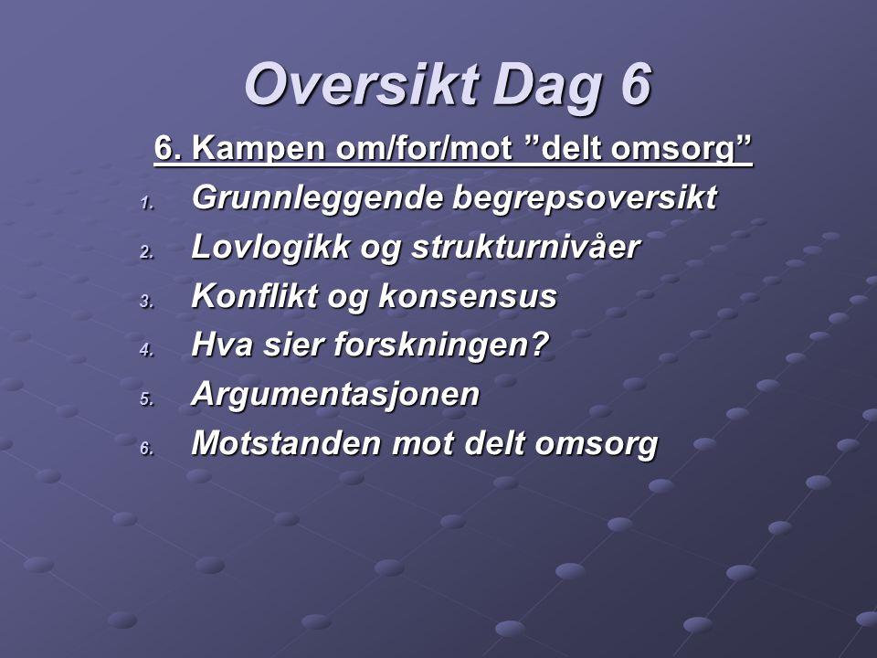 6.Kampen om/for/mot delt omsorg 1. Grunnleggende begrepsoversikt 2.