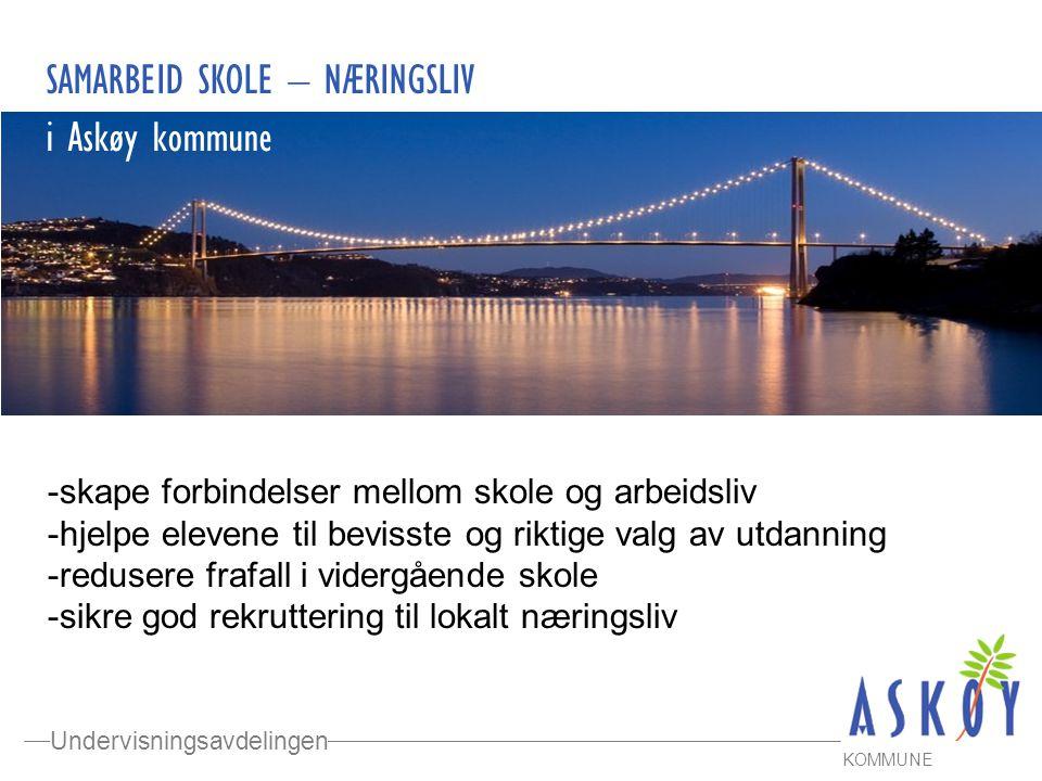 Undervisningsavdelingen KOMMUNE SAMARBEID SKOLE – NÆRINGSLIV i Askøy kommune -skape forbindelser mellom skole og arbeidsliv -hjelpe elevene til beviss