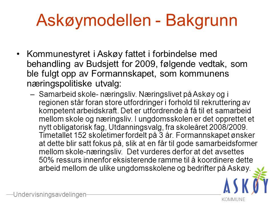 Undervisningsavdelingen KOMMUNE •Kommunestyret i Askøy fattet i forbindelse med behandling av Budsjett for 2009, følgende vedtak, som ble fulgt opp av Formannskapet, som kommunens næringspolitiske utvalg: –Samarbeid skole- næringsliv.
