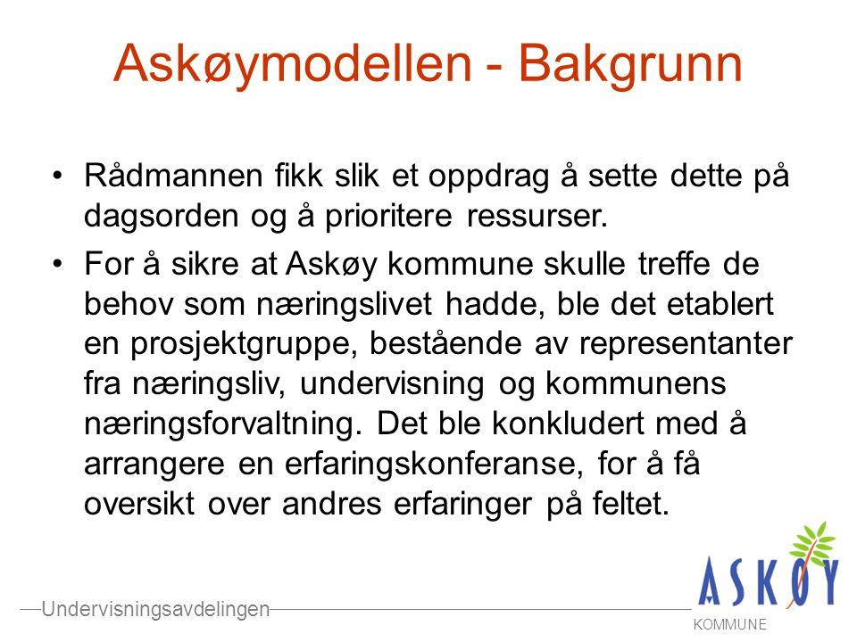 Undervisningsavdelingen KOMMUNE Askøymodellen - Bakgrunn •Rådmannen fikk slik et oppdrag å sette dette på dagsorden og å prioritere ressurser. •For å