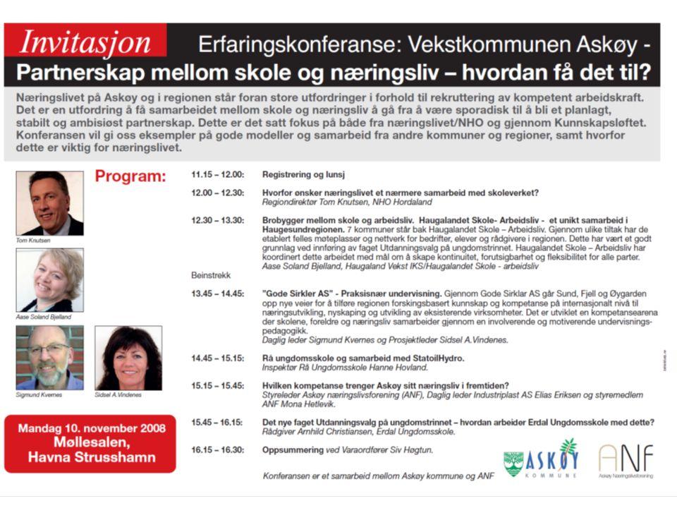 Undervisningsavdelingen KOMMUNE Askøymodellen - Bakgrunn •Prosjektgruppen konkluderte etter konferansen med å etablere Askøymodellen , med fokus på faget Utdanningsvalg.