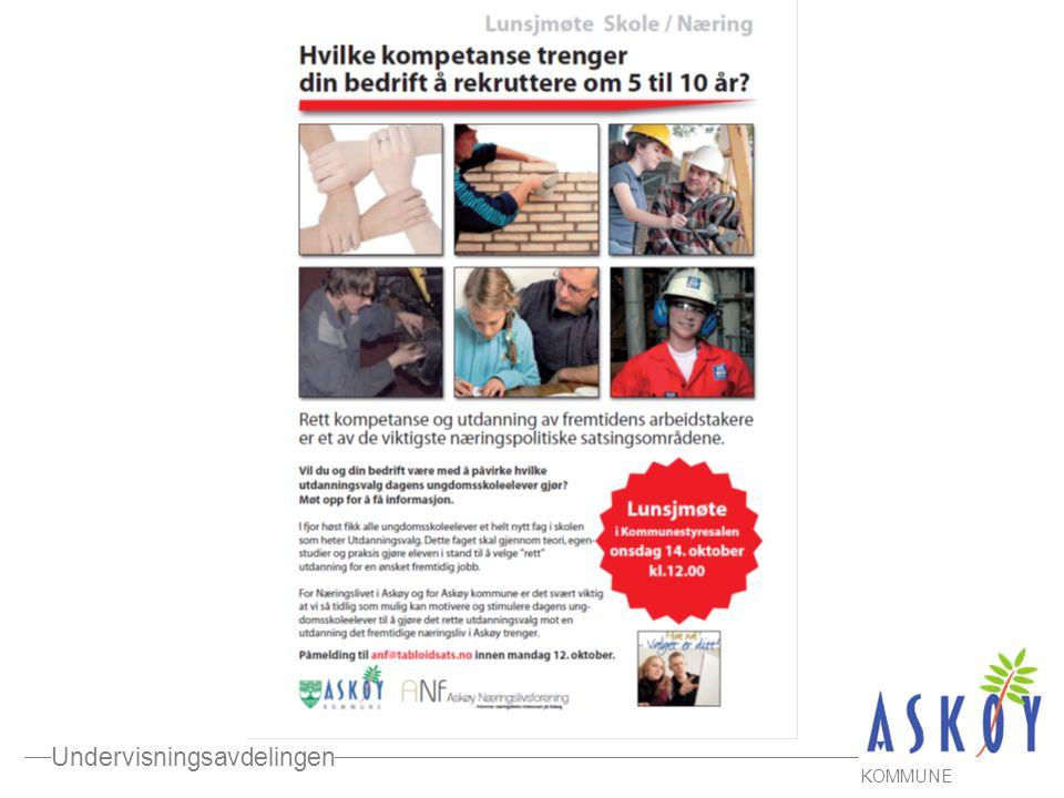 Undervisningsavdelingen KOMMUNE SAMARBEID SKOLE – NÆRINGSLIV i Askøy kommune -skape forbindelser mellom skole og arbeidsliv -hjelpe elevene til bevisste og riktige valg av utdanning -redusere frafall i vidergående skole -sikre god rekruttering til lokalt næringsliv