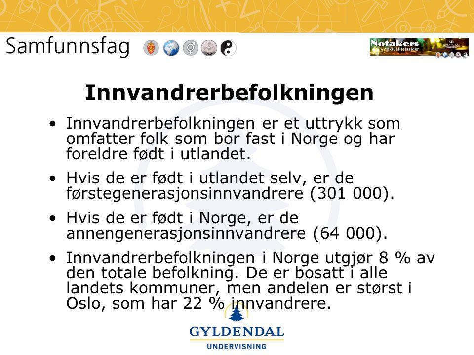 Innvandrerbefolkningen •Innvandrerbefolkningen er et uttrykk som omfatter folk som bor fast i Norge og har foreldre født i utlandet. •Hvis de er født