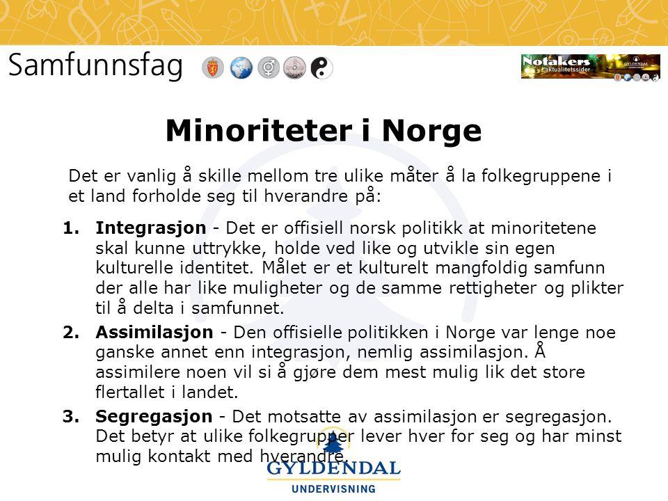 Minoriteter i Norge Det er vanlig å skille mellom tre ulike måter å la folkegruppene i et land forholde seg til hverandre på: 1.Integrasjon - Det er o