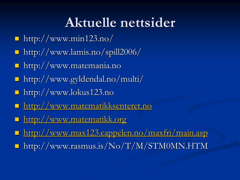 Aktuelle nettsider  http://www.min123.no/  http://www.lamis.no/spill2006/  http://www.matemania.no  http://www.gyldendal.no/multi/  http://www.lo