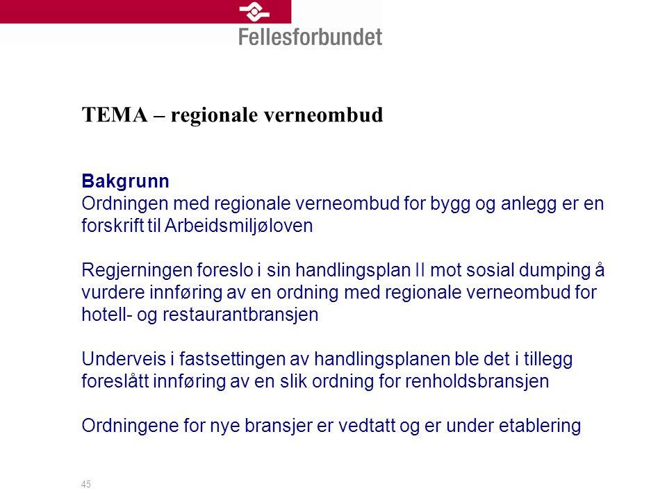 TEMA – regionale verneombud Bakgrunn Ordningen med regionale verneombud for bygg og anlegg er en forskrift til Arbeidsmiljøloven Regjerningen foreslo