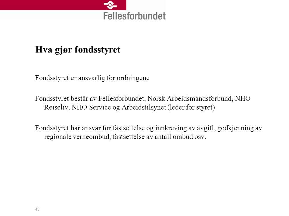 Hva gjør fondsstyret Fondsstyret er ansvarlig for ordningene Fondsstyret består av Fellesforbundet, Norsk Arbeidsmandsforbund, NHO Reiseliv, NHO Servi