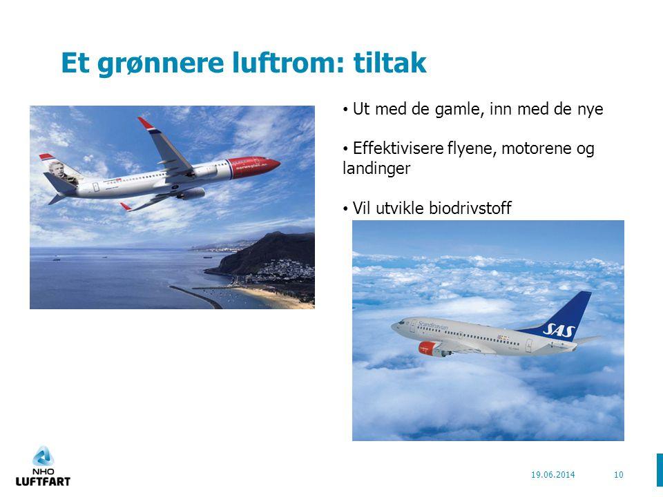 Et grønnere luftrom: tiltak 19.06.201410 • Ut med de gamle, inn med de nye • Effektivisere flyene, motorene og landinger • Vil utvikle biodrivstoff