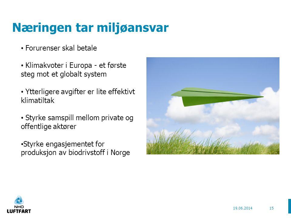 Næringen tar miljøansvar 19.06.201415 • Forurenser skal betale • Klimakvoter i Europa - et første steg mot et globalt system • Ytterligere avgifter er lite effektivt klimatiltak • Styrke samspill mellom private og offentlige aktører • Styrke engasjementet for produksjon av biodrivstoff i Norge