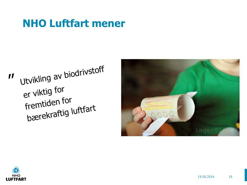 NHO Luftfart mener Utvikling av biodrivstoff er viktig for fremtiden for bærekraftig luftfart 19.06.201416